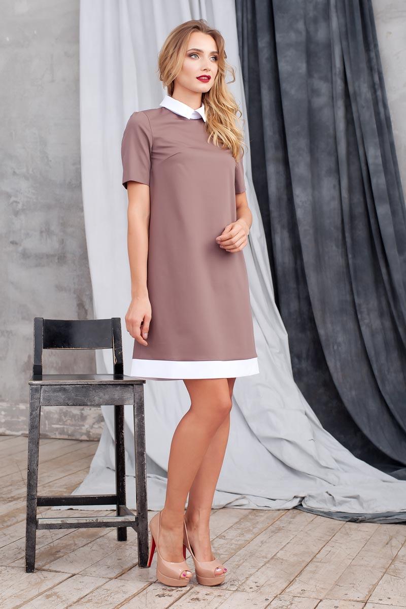 Платье0113741Элегантное платье из ткани костюмной группы. Модель трапециевидного силуэта с коротким рукавом. Низ платья оформлен полосой контрастного цвета. Воротник отложной на стойке с застежкой на пуговицы сзади. В среднем шве спинки застежка на потайную молнию. Нежное платье поможет создать образы на разные случаи жизни.