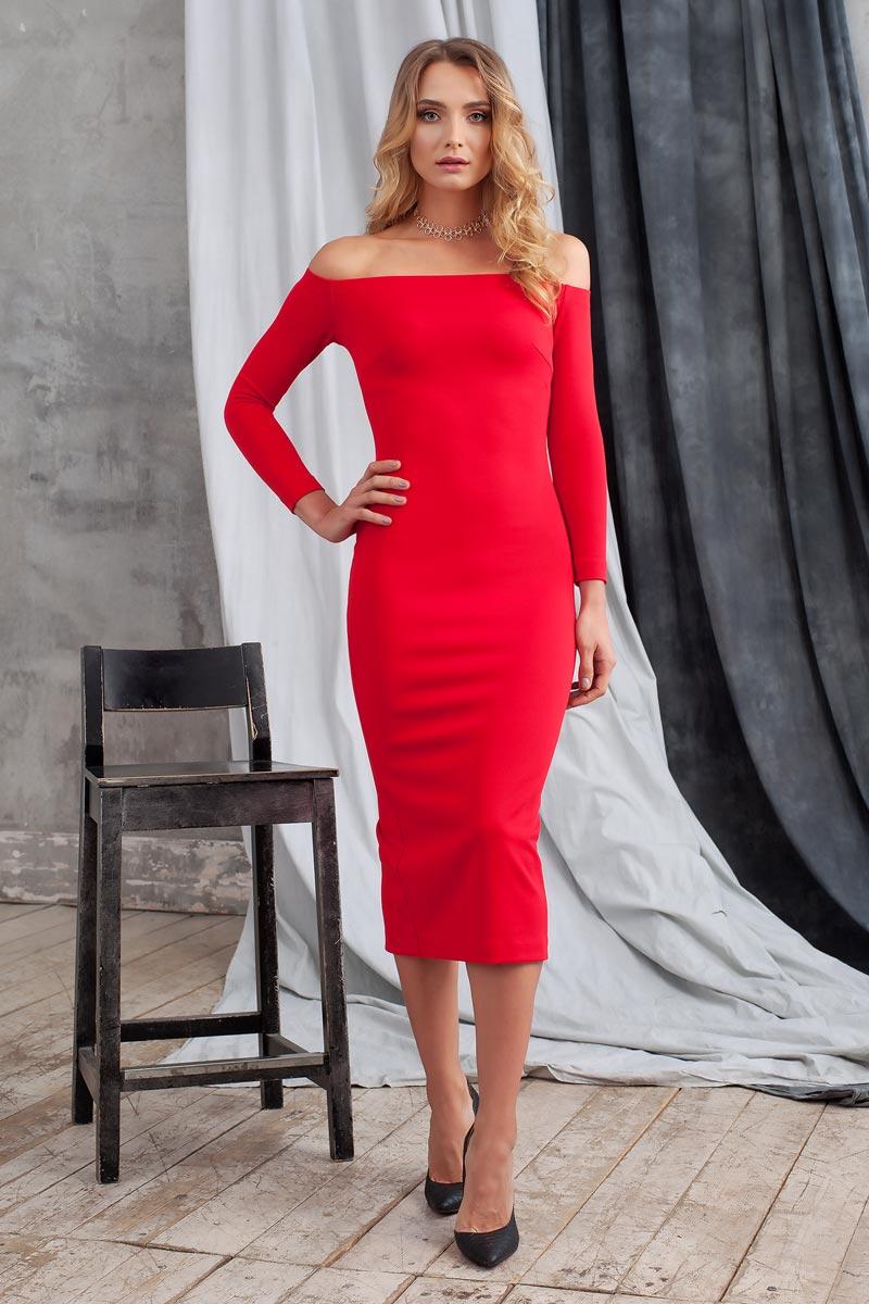 Платье0109903Элегантное платье из однотонного структурного трикотажа подчеркнет Ваш отменный вкус и изгибы фигуры, а также станет стержнем для разнообразного комбинирования с обувью и аксессуарами. Модель прилегающего силуэта длиной ниже колена с рукавом 3/4. Вырез-лодочка делает акцент на изящные плечи. Эластичная резинка по горловине позволяет надежно фиксировать платье на плечах.