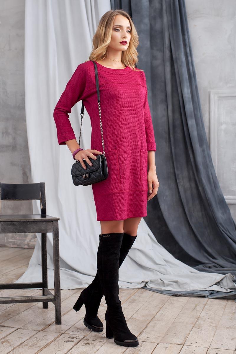 Платье0105404Стильное платье из плотного структурного трикотажа. Модель полуприлегающего силуэта с цельнокроеным рукавом. Впереди выполнены накладные карманы. Сзади застежка на пуговицу. Прекрасный вариант на каждый день.