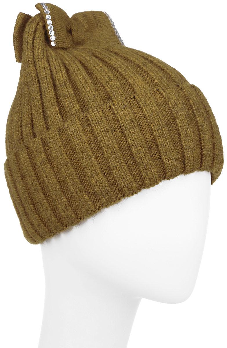 Шапка детская2Банта-22Теплая шапка для девочки Concept выполнена из сочетания высококачественного акрила и теплой шерсти. Шапка с отворотом оформлена на макушке двумя вязанными бантами. Банты дополнены выкладкой из блестящих страз. Уважаемые клиенты! Размер, доступный для заказа, является обхватом головы.
