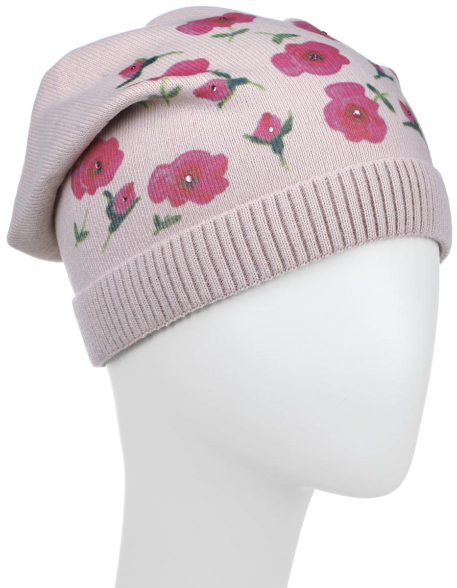 Шапка детскаяРозы-22Теплая шапка для девочки Concept выполнена из сочетания высококачественного акрила и теплой шерсти. Удлиненная шапка с небольшим отворотом, выполненным их трикотажной резинки, оформлена цветочным принтом с выкладкой из страз. Уважаемые клиенты! Размер, доступный для заказа, является обхватом головы.