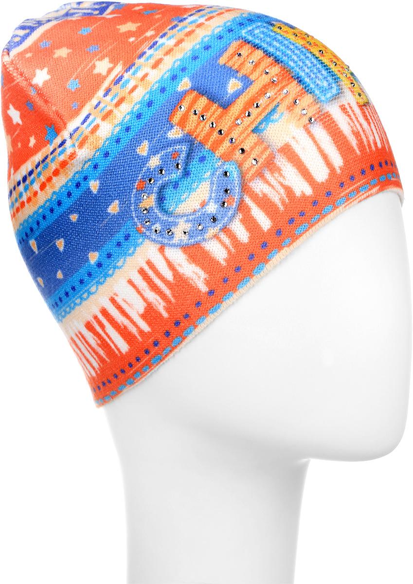 Шапка детскаяD3740-22Стильная шапка для девочки ПриКиндер идеально подойдет для прогулок и активных игр на свежем воздухе. Шапка выполнена из высококачественного эластичного акрила с добавлением хлопка, она невероятно мягкая и приятная на ощупь, великолепно тянется и удобно сидит. Такая шапочка отлично дополнит любой наряд. Модель украшена оригинальным красочным принтом и стилизованной надписью Chirpy спереди, а также декорирована сверкающими стразами. Удобная шапка станет модным и стильным дополнением гардероба вашей маленькой принцессы, надежно защитит ее от холода и ветра и поднимет ей настроение даже в пасмурные дни! Уважаемые клиенты! Размер, доступный для заказа, является обхватом головы.