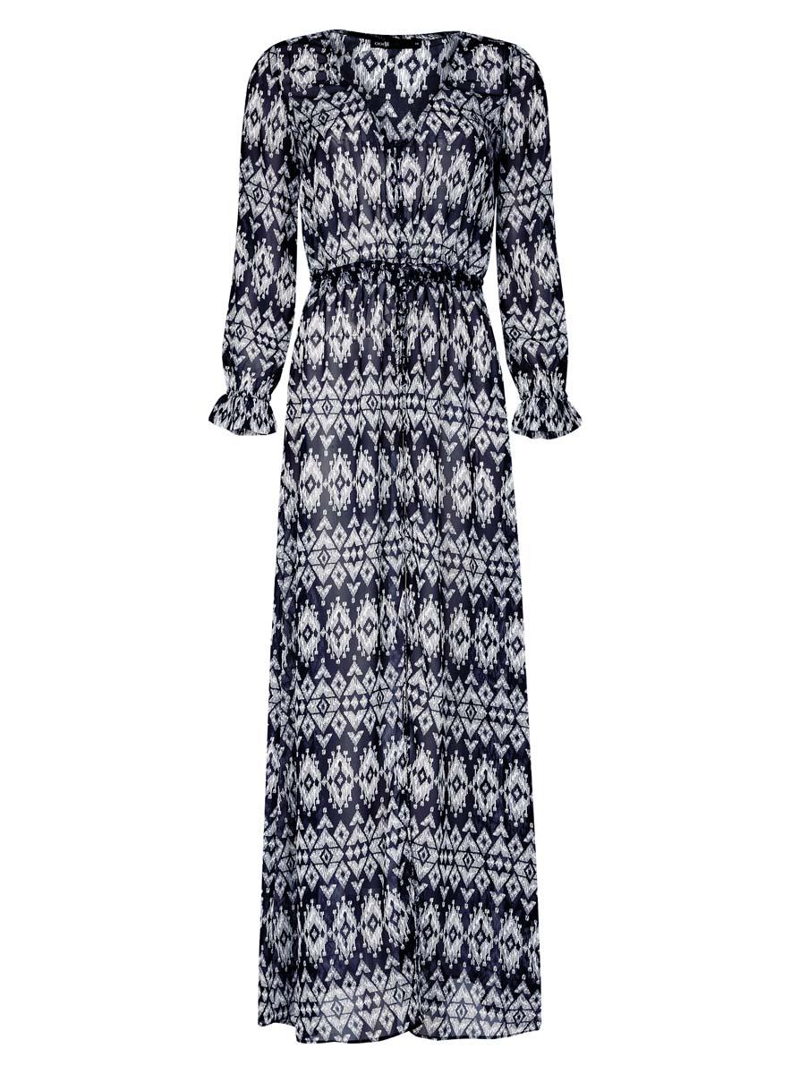 Платье11900187/13632/7912EСтильное платье oodji Ultra выполнено из 100% полиэстера. Модель длинной макси с V-образным вырезом горловины и длинными рукавами спереди застегивается на пуговицы. По линии талии изделие дополнено текстильным шнурком.