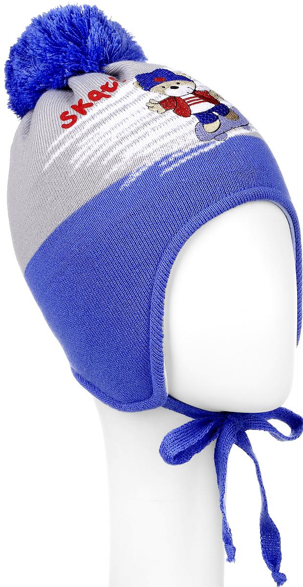 Шапка детскаяM3792-22Теплая детская шапка ПриКиндер отлично дополнит образ вашего ребенка в холодную погоду. Сочетание шерсти и акрила максимально сохраняет тепло и обеспечивает удобную посадку. Подкладка выполнена из натурального хлопка с добавлением лайкры. Шапка оформлена интересным принтом и аппликацией с изображением мишки. По бокам модель немного удлинена и имеет завязки на шнурочках, а на макушке дополнена пушистым помпоном. Уважаемые клиенты! Размер, доступный для заказа, является обхватом головы.