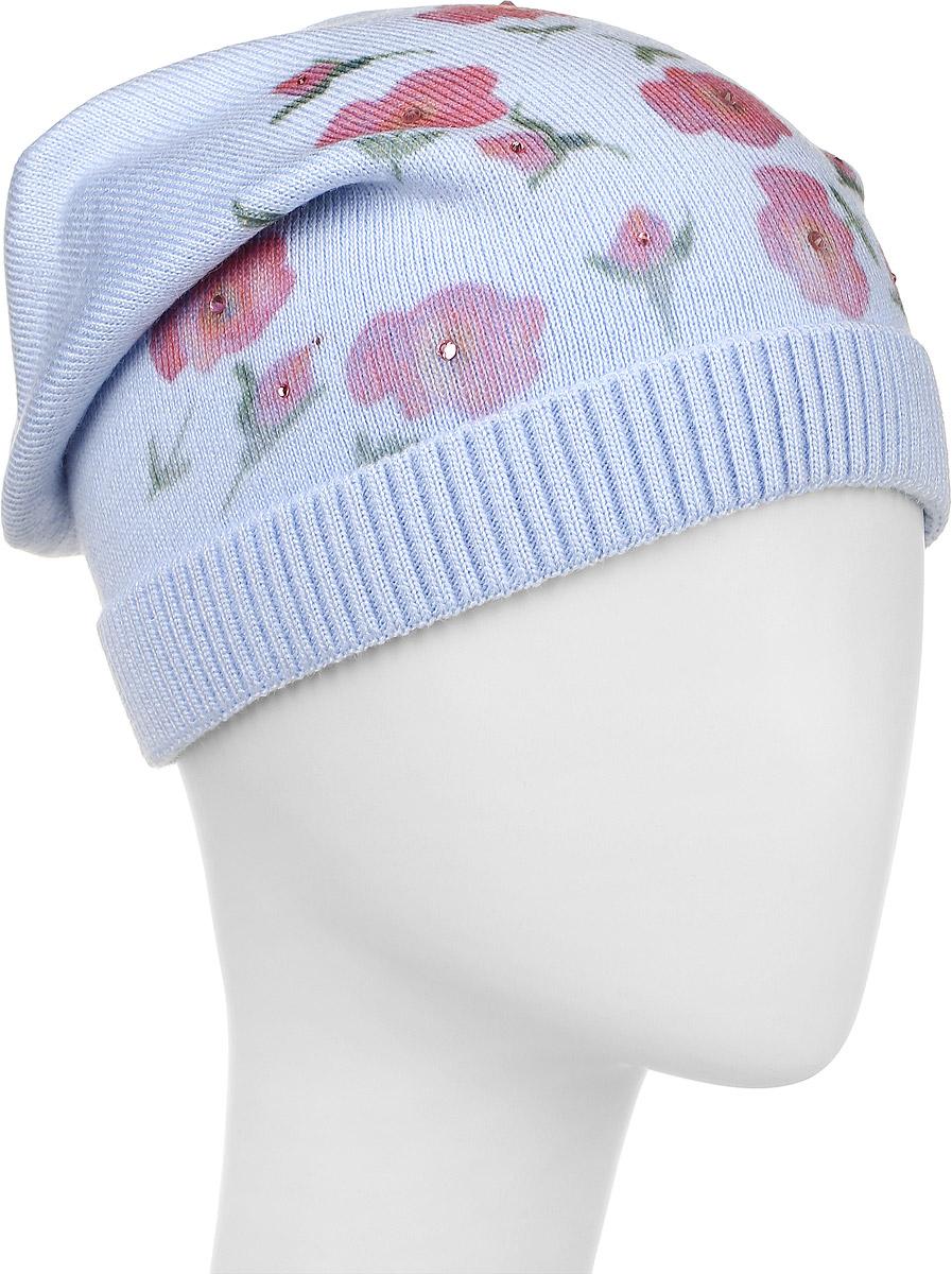 Розы-22Теплая шапка для девочки Concept выполнена из сочетания высококачественного акрила и теплой шерсти. Удлиненная шапка с небольшим отворотом, выполненным их трикотажной резинки, оформлена цветочным принтом с выкладкой из страз. Уважаемые клиенты! Размер, доступный для заказа, является обхватом головы.