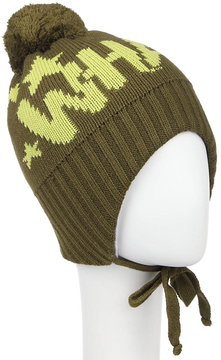Шапка детскаяM3780-22Теплая шапка для мальчика ПриКиндер выполнена из высококачественного акрила и теплой шерсти. Подкладка выполнена из сочетания хлопка и лайкры. Шапка оформлена контрастным принтом с надписями и на макушке дополнена пушистым помпоном. По бокам модель дополнена удлиненными ушками, которые можно завязать на шнурочки. Уважаемые клиенты! Размер, доступный для заказа, является обхватом головы.