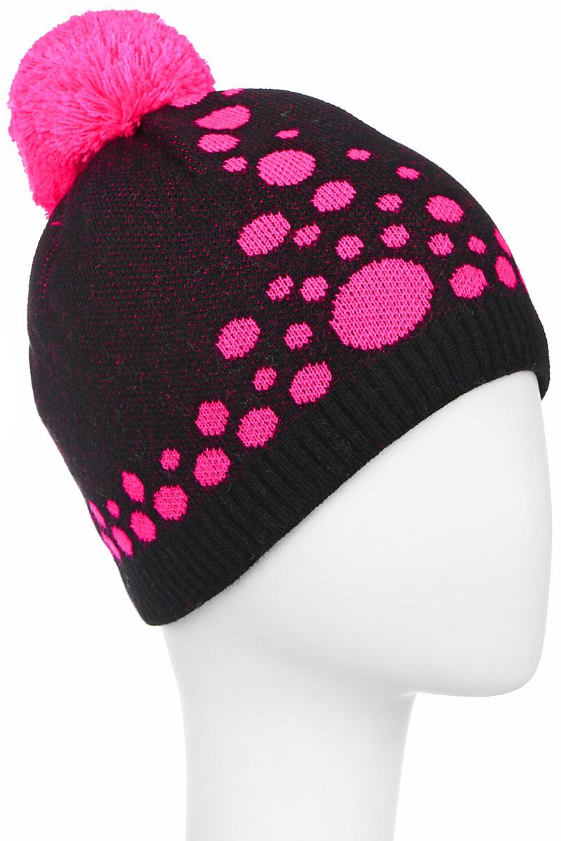 D4880-22Теплая шапка для девочки Fishka выполнена из высококачественного акрила и шерсти. Подкладка выполнена из мягкого флиса. Шапка оформлена контрастным принтом в горох и на макушке дополнена пушистым помпоном. Уважаемые клиенты! Размер, доступный для заказа, является обхватом головы.