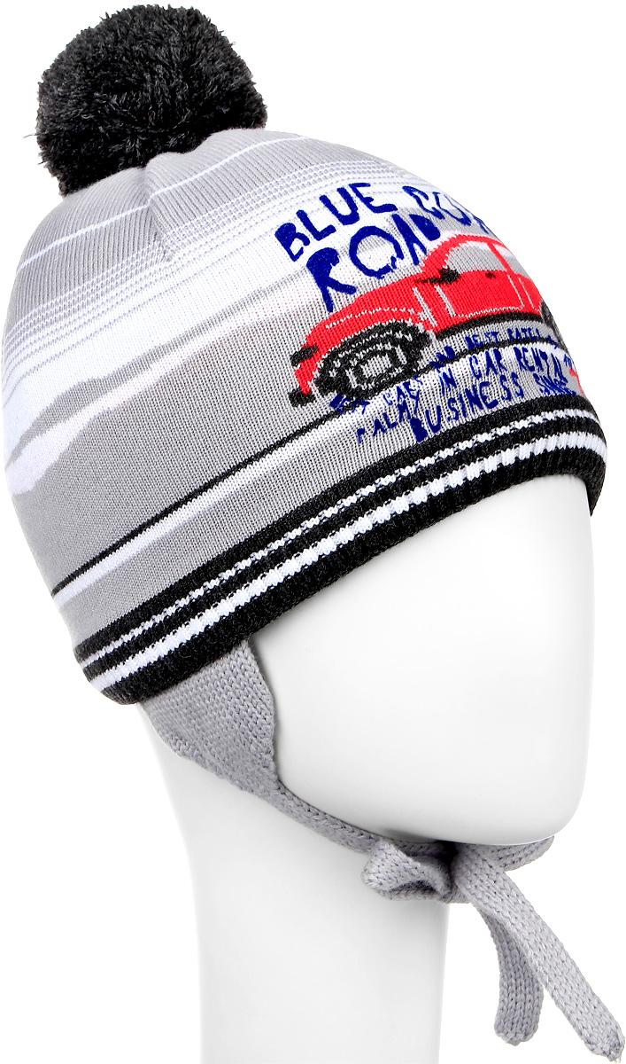 Шапка детскаяM3649-22Теплая детская шапка ПриКиндер отлично дополнит образ вашего ребенка в холодную погоду. Сочетание шерсти и акрила максимально сохраняет тепло и обеспечивает удобную посадку. Подкладка выполнена из натурального хлопка с добавлением лайкры. Шапка оформлена интересным принтом в виде машинки, дополнена удлиненным ушками с завязками-шнурочками. На макушке дополнена пушистым помпоном. Уважаемые клиенты! Размер, доступный для заказа, является обхватом головы.