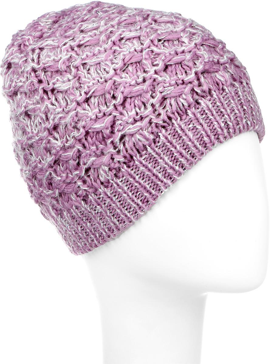 SWH5974/2-003Вязаная женская шапка Snezhna идеально подойдет для вас в холодное время года. Изготовленная из шерсти и акрила, она мягкая и приятная на ощупь, обладает хорошими дышащими свойствами и максимально удерживает тепло. Подкладка шапки выполнена из мягкого теплого флиса. Модель плотно облегает голову, благодаря чему надежно защищает от ветра и мороза. Изделие оформлено крупным вязаным узором, а также декорировано мелкими переливающимися пайетками. Уважаемые клиенты! Размер, доступный для заказа, является обхватом головы.