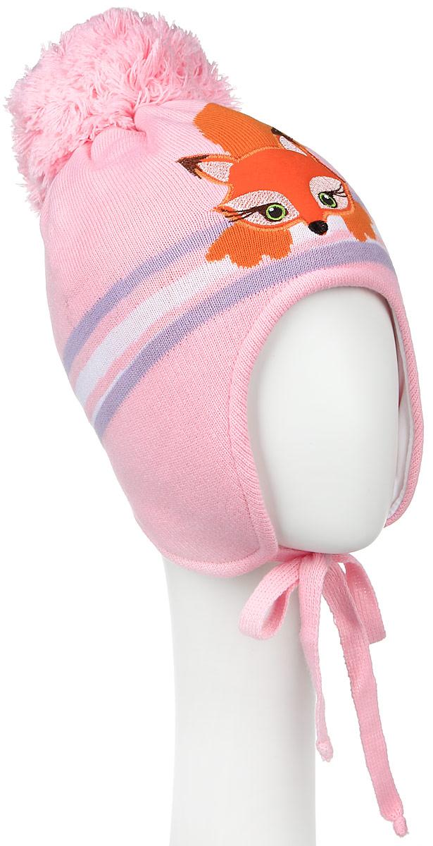 D3549-22Теплая шапка для девочки ПриКиндер выполнена из высококачественного акрила и теплой шерсти. Подкладка выполнена из сочетания хлопка и лайкры. Шапка оформлена контрастным принтом с изображением лисички и на макушке дополнена пушистым помпоном. По бокам модель дополнена удлиненными ушками, которые можно завязать на шнурочки. Уважаемые клиенты! Размер, доступный для заказа, является обхватом головы.