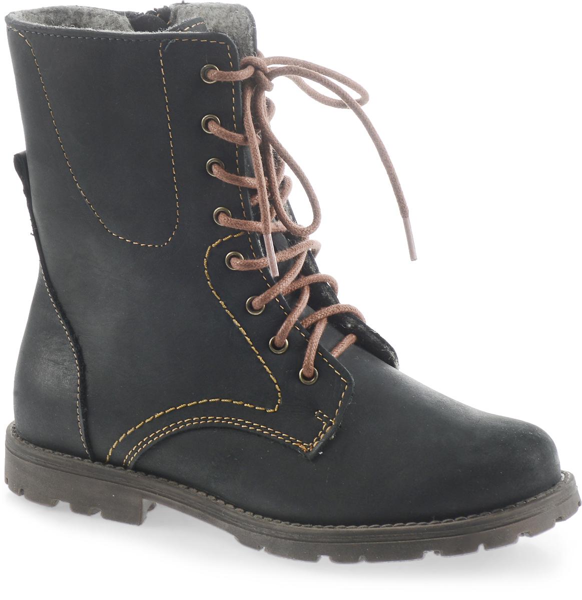 652056-31Ботинки для девочки Котофей на байковой подкладке с верхом из натурального нубука. Удобная застежка-молния позволяет легко обувать и снимать ботинки, а функциональная шнуровка обеспечит идеальную фиксацию обуви на стопе. Подошва с небольшим каблучком гарантирует удобство даже при долгих осенних прогулках.