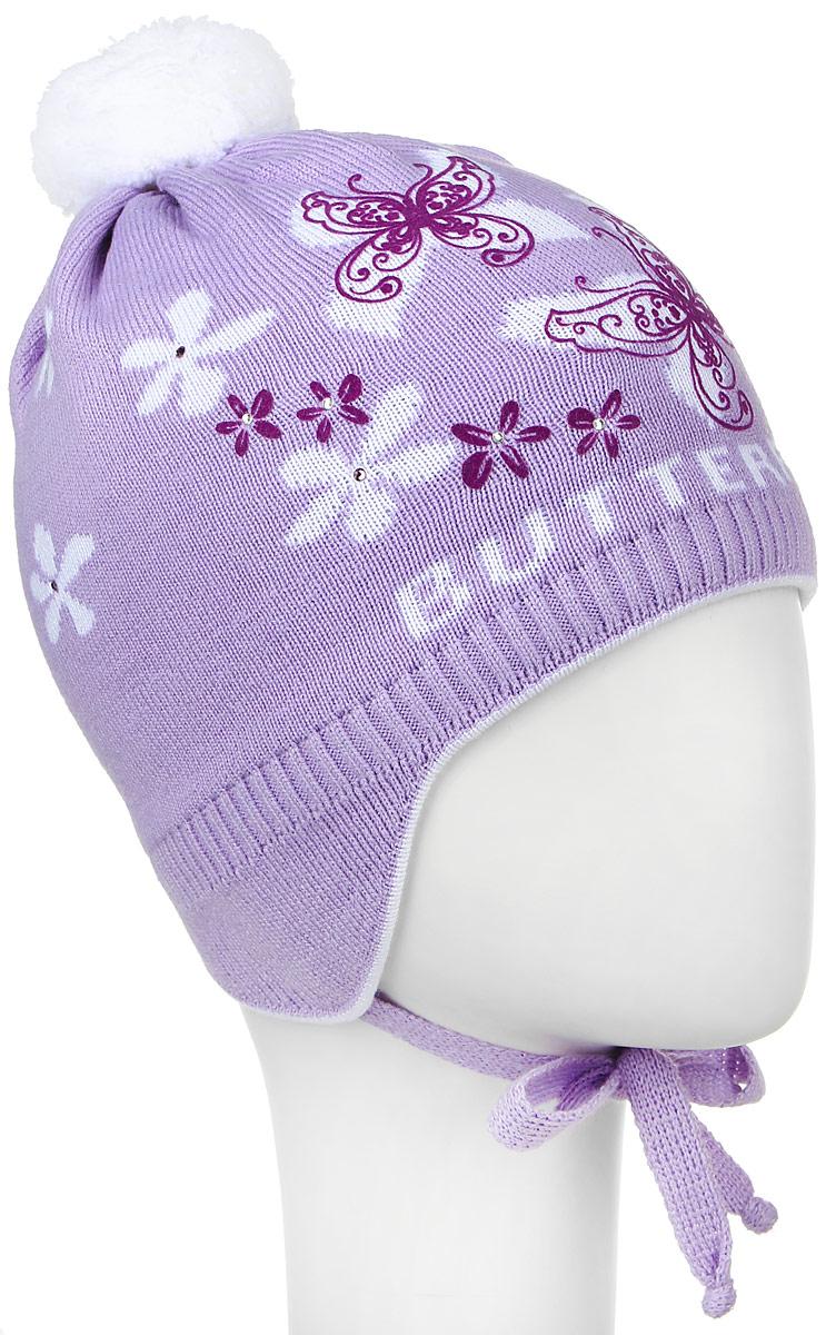 D3655-22Теплая шапка для девочки ПриКиндер выполнена из высококачественного акрила и хлопка. Подкладка выполнена из сочетания хлопка и лайкры. Шапка с помпоном оформлена контрастным цветочным принтом и декорирована блестящими стразами. По бокам модель дополнена удлиненными ушками, которые можно завязать на шнурочки. Уважаемые клиенты! Размер, доступный для заказа, является обхватом головы.