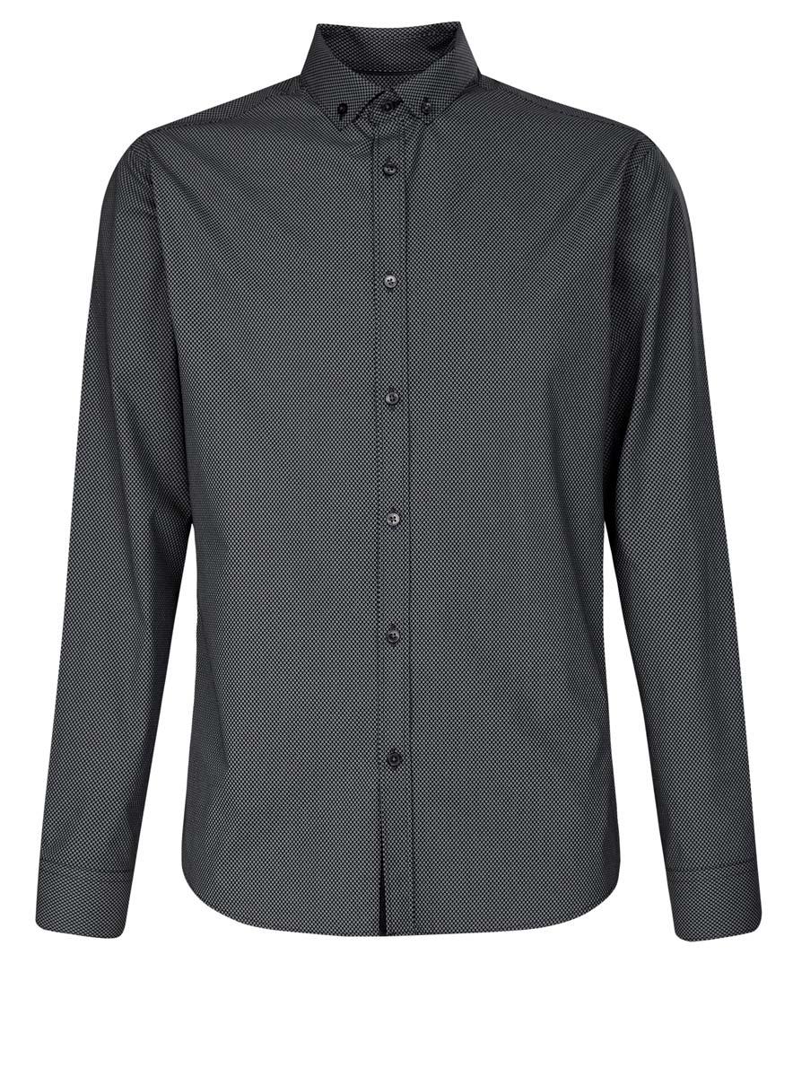 Рубашка3L110217M/19370N/7923GСтильная мужская рубашка oodji выполнена из натурального хлопка. Модель с отложным воротником и длинными рукавами застегивается на пуговицы спереди. Манжеты рукавов дополнены застежками-пуговицами. Оформлена рубашка оригинальным принтом в мелкий узор.