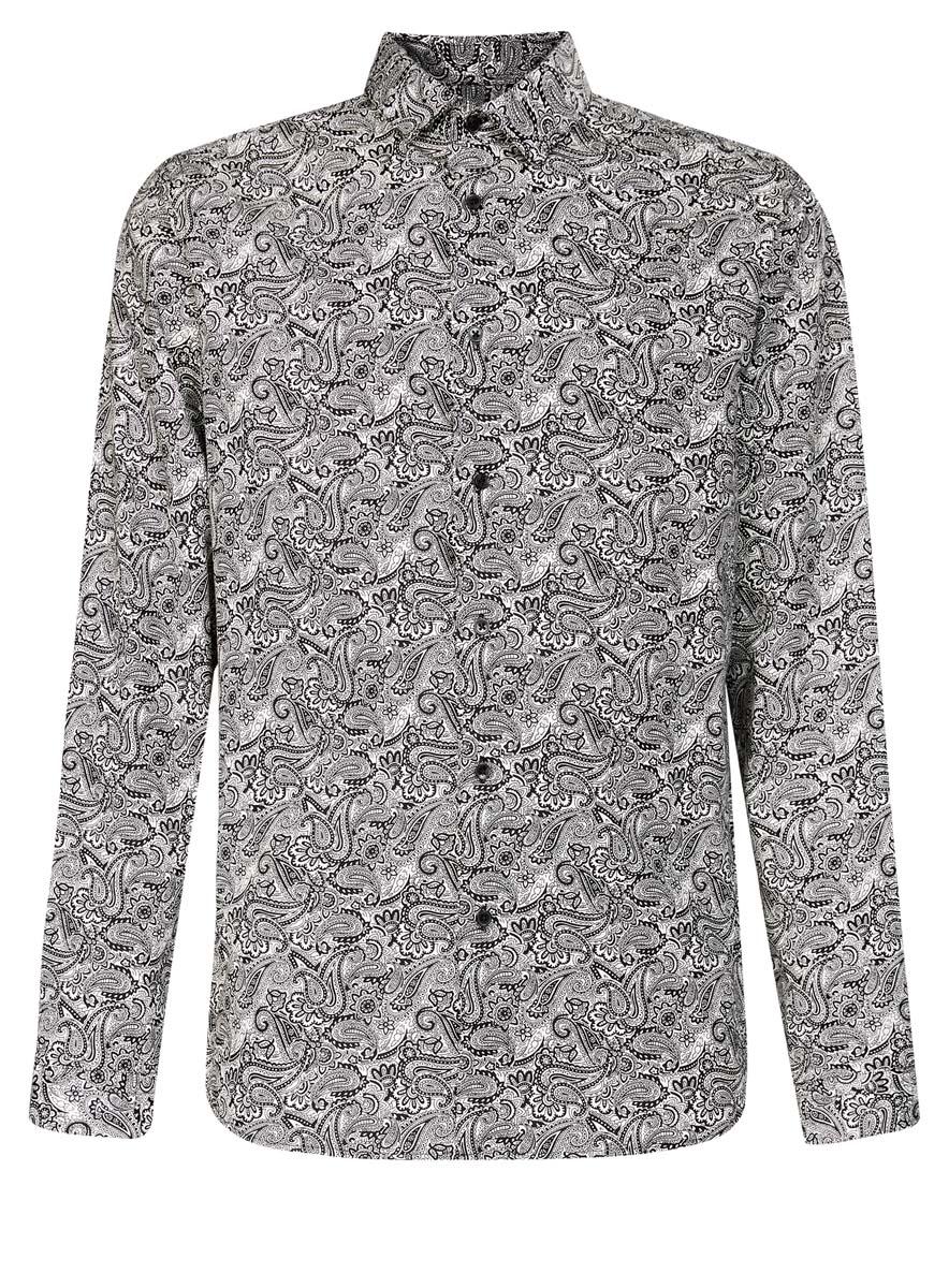 3L110219M/19370N/1029EМужская рубашка oodji выполнена из натурального хлопка. Рубашка кроя slim с длинными рукавами и отложным воротником застегивается на пуговицы спереди. Манжеты рукавов также застегиваются на пуговицы. Рубашка оформлена оригинальным этническим орнаментом.