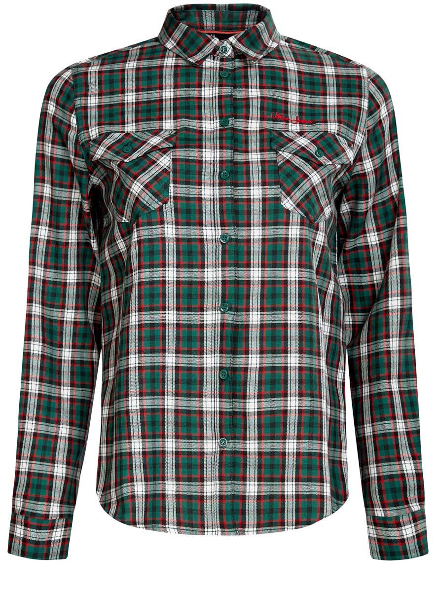 Рубашка11400433-1/43223/4529CСтильная женская рубашка oodji Ultra выполнена из натурального хлопка. Модель с отложным воротником и длинными рукавами застегивается спереди на пуговицы. Манжеты рукавов также имеют застежки-пуговицы. Оформлена рубашка модным принтом в клетку и дополнена двумя накладными карманами с клапанами на пуговицах.