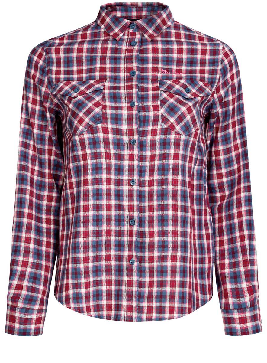 11400433-1/43223/4529CСтильная женская рубашка oodji Ultra выполнена из натурального хлопка. Модель с отложным воротником и длинными рукавами застегивается спереди на пуговицы. Манжеты на рукавах также имеют застежки-пуговицы. Оформлена рубашка модным принтом в клетку и дополнена двумя накладными карманами с клапанами на пуговицах.