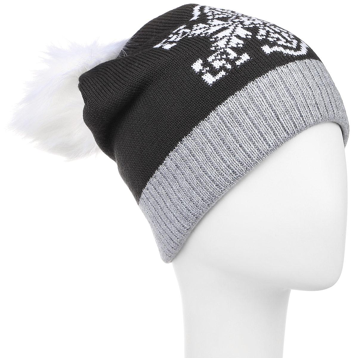 RGH5312/1Детская шапка Elfrio выполнена из акрила, подкладка - из полиэстера. Модель мелкой вязки, украшена принтом в виде снежинки, дополнена помпоном из искусственного меха, низ изделия оформлен вязаной резинкой. Уважаемые клиенты! Размер, доступный для заказа, является обхватом головы.