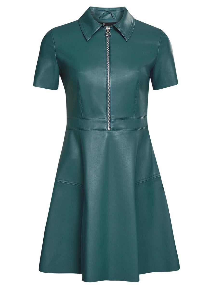 Платье18L02002/45902/6C00NСтильное платье oodji Ultra выполнено из полиэстера и полиуретана. Модель А-силуэта из искусственной кожи с отложным воротником, короткими рукавами и молнией на груди застегивается также на застежку-молнию сбоку.