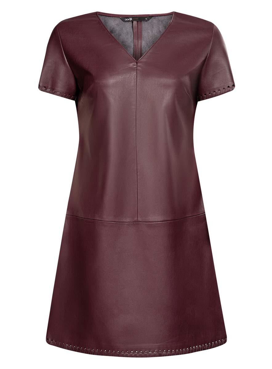 18L03001/43578/3100NСтильное платье oodlji Ultra выполнено из искусственной кожи. Модель А-силуэта с V-образным вырезом горловины и короткими рукавами. Края рукавов и низ платья декорированы.