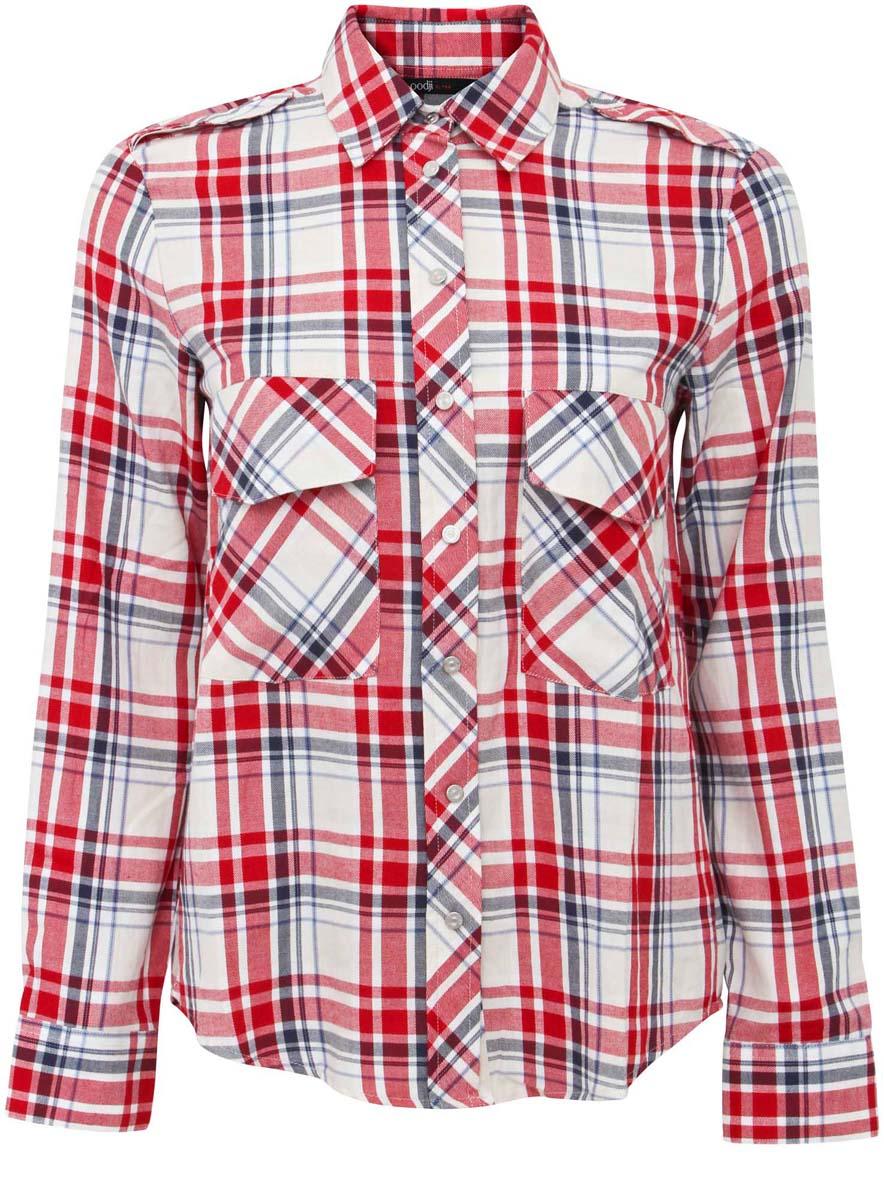 11411052/42850/4533CУдобная женская рубашка oodji Ultra, выполненная из натурального хлопка, не оставит вас без внимания. Модель с длинными рукавами и отложным воротником застегивается спереди по всей длине на кнопки. Манжеты рукавов также застегиваются на кнопки. Оформлена рубашка стильным принтом в клетку и двумя накладными карманами с клапанами.