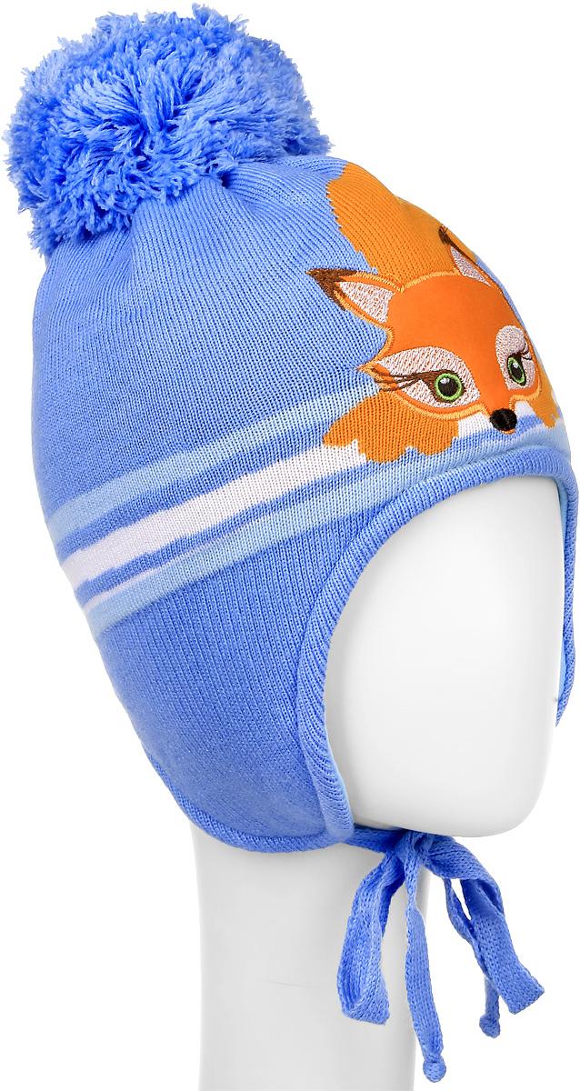 Шапка детскаяD3549-22Теплая шапка для девочки ПриКиндер выполнена из высококачественного акрила и теплой шерсти. Подкладка выполнена из сочетания хлопка и лайкры. Шапка оформлена контрастным принтом с изображением лисички и на макушке дополнена пушистым помпоном. По бокам модель дополнена удлиненными ушками, которые можно завязать на шнурочки. Уважаемые клиенты! Размер, доступный для заказа, является обхватом головы.