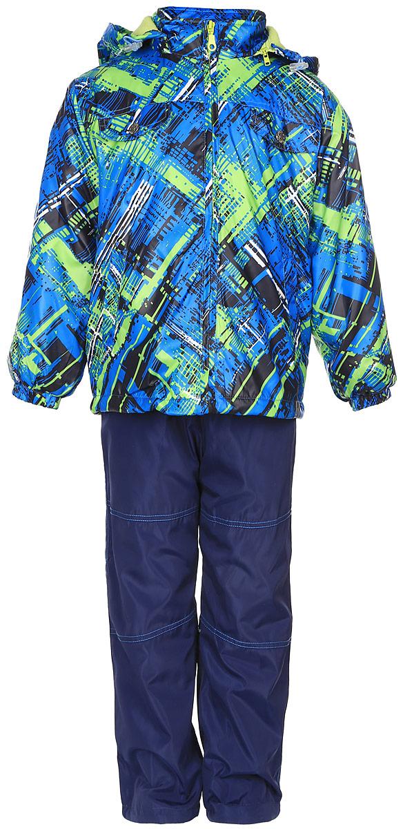 Комплект одеждыVB111606RD-14Красивый и яркий комплект для мальчика M&D, состоящий из ветровки, брюк и лонгслива, идеально подойдет для вашего ребенка в прохладную погоду. Ветровка изготовлена из полиэстера на мягкой флисовой подкладке. Модель со съемным капюшоном застегивается на пластиковую молнию с защитой подбородка. Капюшон по краю дополнен затягивающимся шнурком со стопперами. Низ рукавов дополнен эластичными резинками. Спереди расположены два прорезных кармана, на груди модель оформлена имитацией карманов с клапанами на кнопках. По низу изделия проходит регулируемый эластичный шнурок со стопперами. Брюки выполнены из полиэстера с подкладкой из натурального хлопка. Модель прямого кроя на талии имеет эластичную резинку, благодаря чему брюки не сдавливают животик ребенка и не сползают. Спереди расположены два втачных кармана. По низу брючин предусмотрена утяжка в виде резинок со стопперами. На ветровке и брюках предусмотрены светоотражающие вставки для безопасности ребенка в темное время ...
