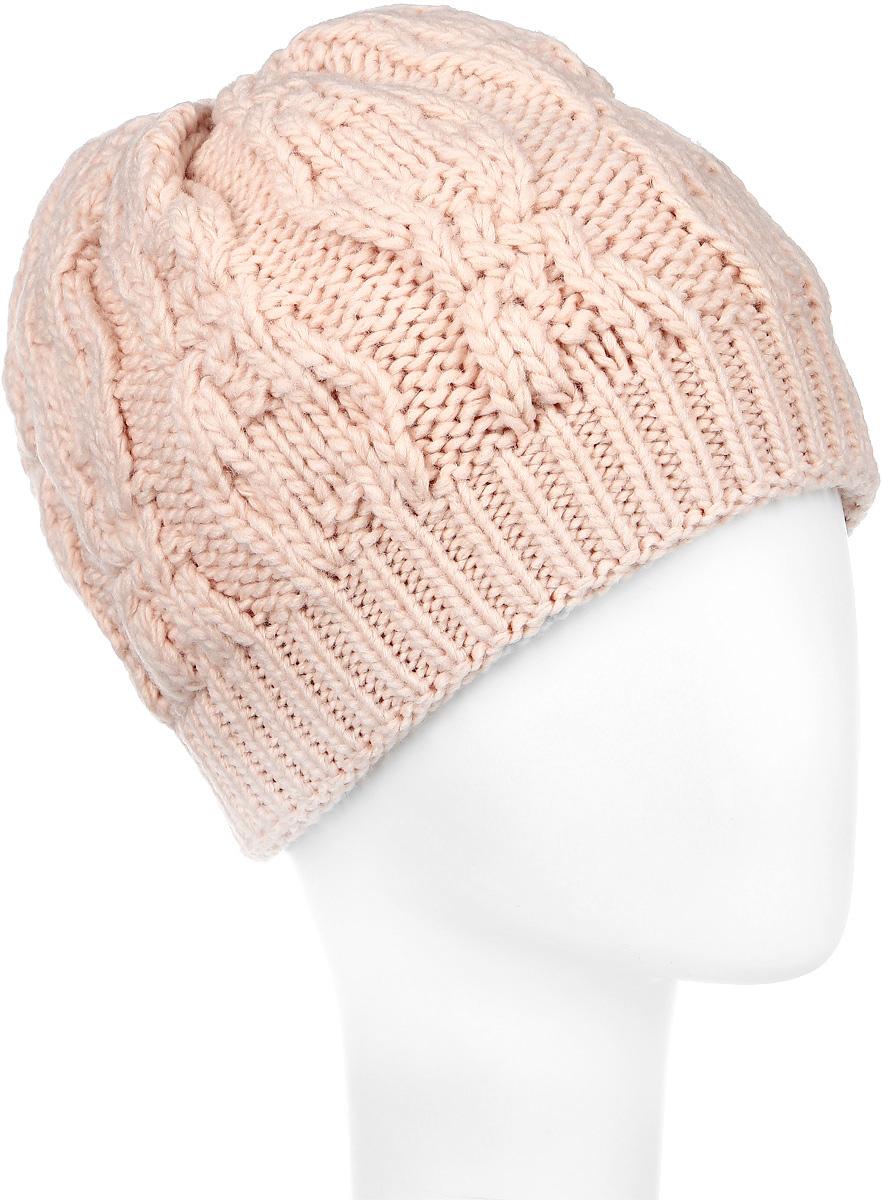 ШапкаSWH5356/3-003Вязаная женская шапка Snezhna идеально подойдет для вас в холодное время года. Изготовленная из шерсти и акрила, она мягкая и приятная на ощупь, обладает хорошими дышащими свойствами и максимально удерживает тепло. Шапка двойная, плотно облегает голову, благодаря чему надежно защищает от ветра и мороза. Шапка оформлена крупным вязаным узором, а также дополнена небольшой металлической пластиной. Такой стильный и теплый аксессуар дополнит ваш образ и подчеркнет индивидуальность! Уважаемые клиенты! Размер, доступный для заказа, является обхватом головы.