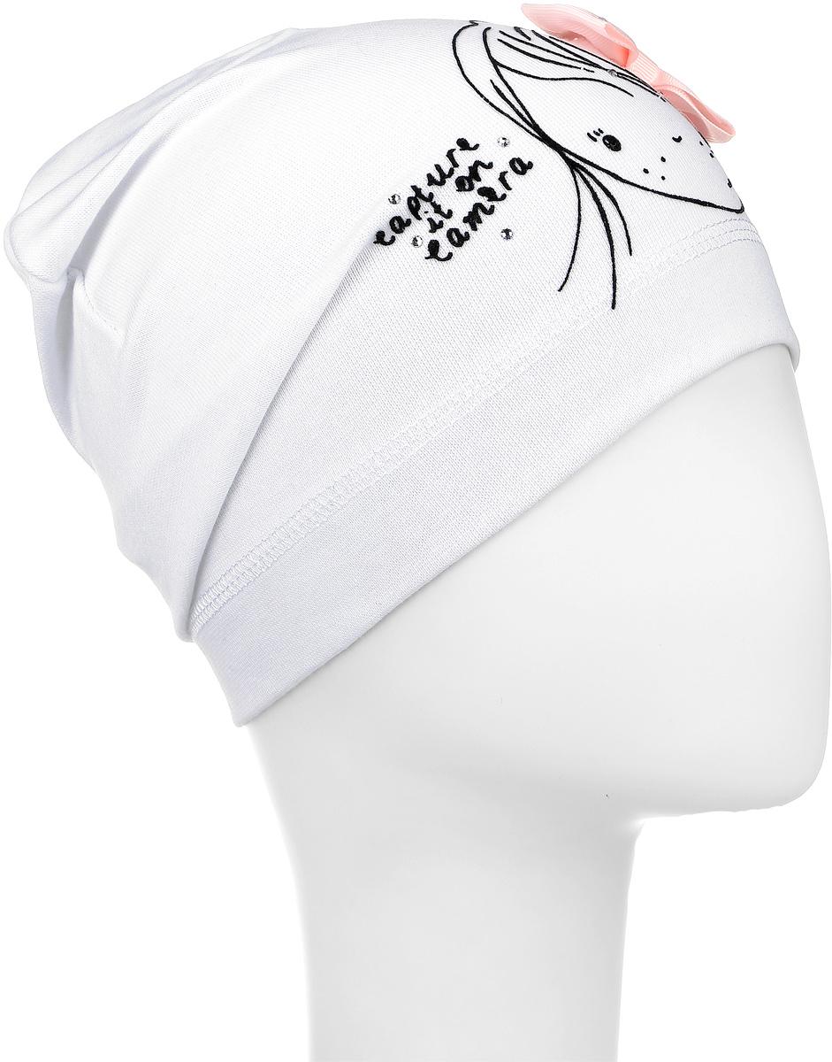 DC4701-22Шапка для девочки Fishka станет стильным и красивым дополнением к детскому гардеробу. Шапка выполнена из мягкого эластичного материала, приятная на ощупь, идеально прилегает к голове. Изделие оформлено изображением девочки и надписью, декорировано атласным бантом и стразами. Современный дизайн и расцветка делают эту шапку модным детским аксессуаром. В такой шапке ребенок будет чувствовать себя уютно, комфортно и всегда будет в центре внимания! Уважаемые клиенты! Размер, доступный для заказа, является обхватом головы.