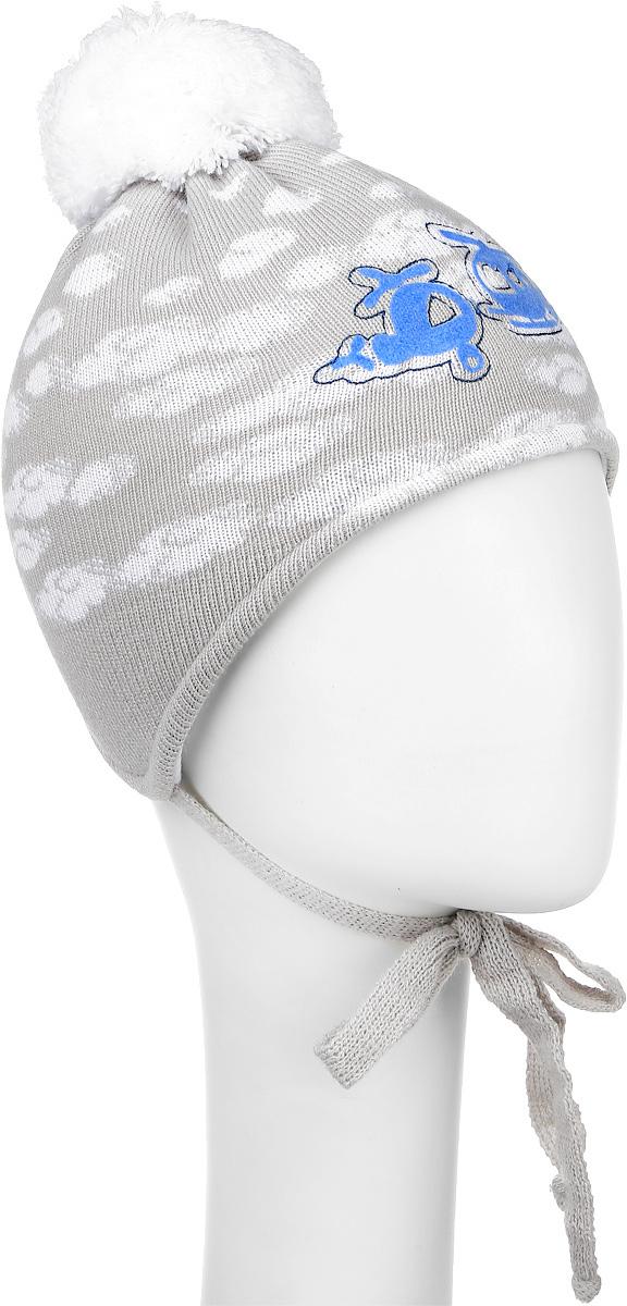 Шапка детскаяM1677-22Теплая детская шапка ПриКиндер, выполненная из сочетания высококачественных материалов, отлично подойдет для повседневной носки в холодную погоду. Подкладка выполнена из хлопка с добавлением лайкры. Модель оформлена оригинальным вязаным узором и на макушке украшена небольшим пушистым помпоном. Шапочка дополнена удлиненными ушками с завязочками. Уважаемые клиенты! Размер, доступный для заказа, является обхватом головы.