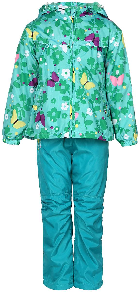 Комплект одеждыVB106515RD-28Красивый и яркий комплект для девочки M&D, состоящий из ветровки, брюк и лонгслива, идеально подойдет для вашего ребенка в прохладную погоду. Ветровка изготовлена из полиэстера на мягкой флисовой подкладке. Модель с несъемным капюшоном застегивается на пластиковую молнию с защитой подбородка. Капюшон по краю дополнен затягивающимся шнурком со стопперами. Низ рукавов дополнен эластичными резинками. Спереди расположены два прорезных кармана. По низу изделия проходит регулируемый эластичный шнурок со стопперами. Брюки выполнены из полиэстера с подкладкой из натурального хлопка и оформлены вышивкой цветочка с бабочкой. Модель прямого кроя на талии имеет эластичную резинку, благодаря чему брюки не сдавливают животик ребенка и не сползают. Спереди расположены два втачных кармана. По низу брючин предусмотрена утяжка в виде резинок со стопперами. Лонгслив изготовлен из натурального хлопка. Модель с круглым вырезом горловины и длинными рукавами оформлена оригинальным...