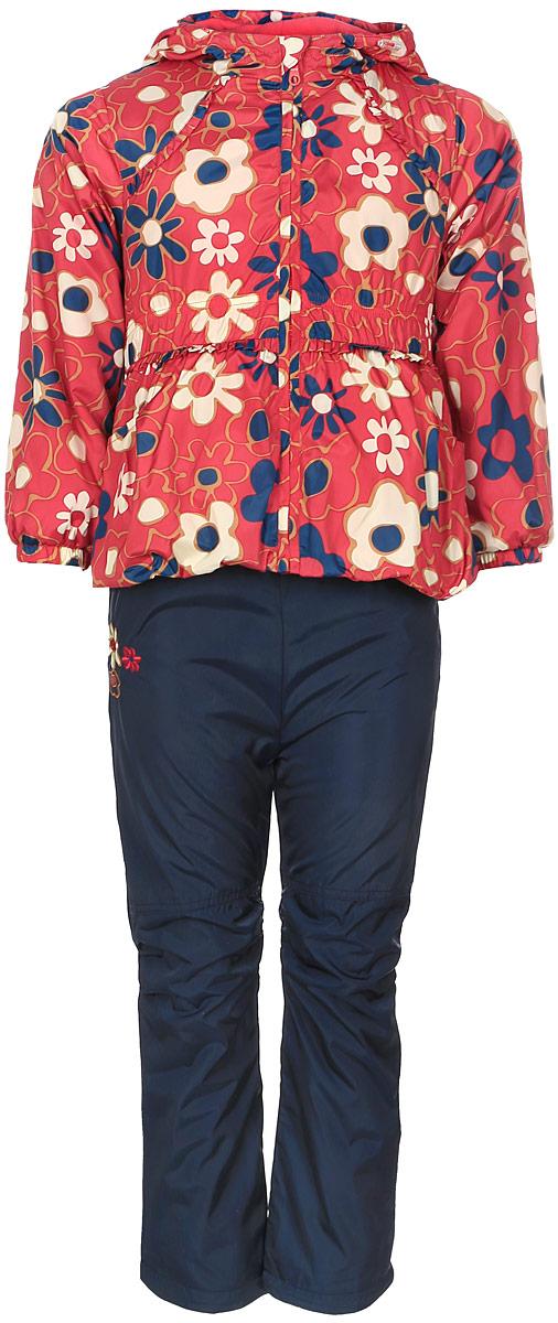 Комплект одеждыVB104511RD-7Красивый и яркий комплект для девочки M&D, состоящий из ветровки, брюк и лонгслива, идеально подойдет для вашего ребенка в прохладную погоду. Ветровка изготовлена из полиэстера на мягкой флисовой подкладке. Модель с несъемным капюшоном застегивается на пластиковую молнию с защитой подбородка. Капюшон по краю дополнен затягивающимся шнурком со стопперами. Низ рукавов дополнен эластичными резинками. Спереди расположены два прорезных кармана. По низу изделия проходит регулируемый эластичный шнурок со стопперами. Талия присборена на резинку. Брюки выполнены из полиэстера с подкладкой из натурального хлопка и оформлены вышивкой цветочка с бабочкой. Модель прямого кроя на талии имеет эластичную резинку, благодаря чему брюки не сдавливают животик ребенка и не сползают. Спереди расположены два втачных кармана. По низу брючин предусмотрена утяжка в виде резинок со стопперами. Лонгслив изготовлен из натурального хлопка. Модель с круглым вырезом горловины и длинными рукавами...