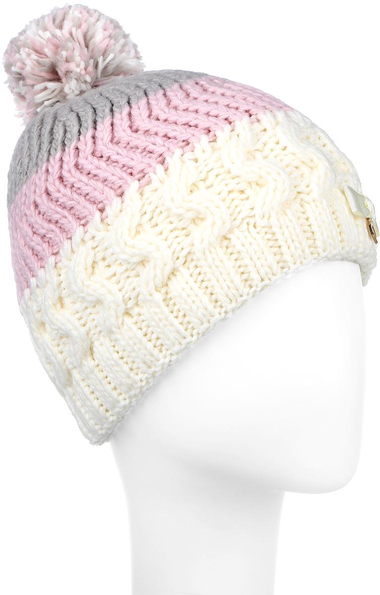 ШапкаMGH5918/3Теплая шапка для девочки Marhatter выполнена из высококачественного акрила и теплой шерсти. Шапка двойная с помпоном оформлена вязкой с узором и дополнена атласным бантиком с подвеской в форме сердечка. Уважаемые клиенты! Размер, доступный для заказа, является обхватом головы.