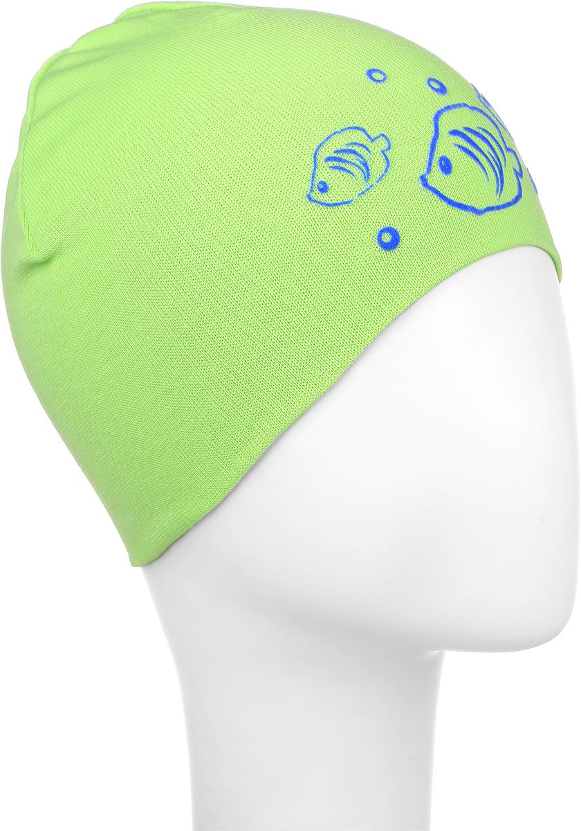 MC3734-22Стильная детская шапка ПриКиндер выполнена из высококачественного акрила и теплой шерсти. Подкладка выполнена из сочетания хлопка и лайкры. Шапка оформлена контрастным принтом с изображением рыбок. Уважаемые клиенты! Размер, доступный для заказа, является обхватом головы.