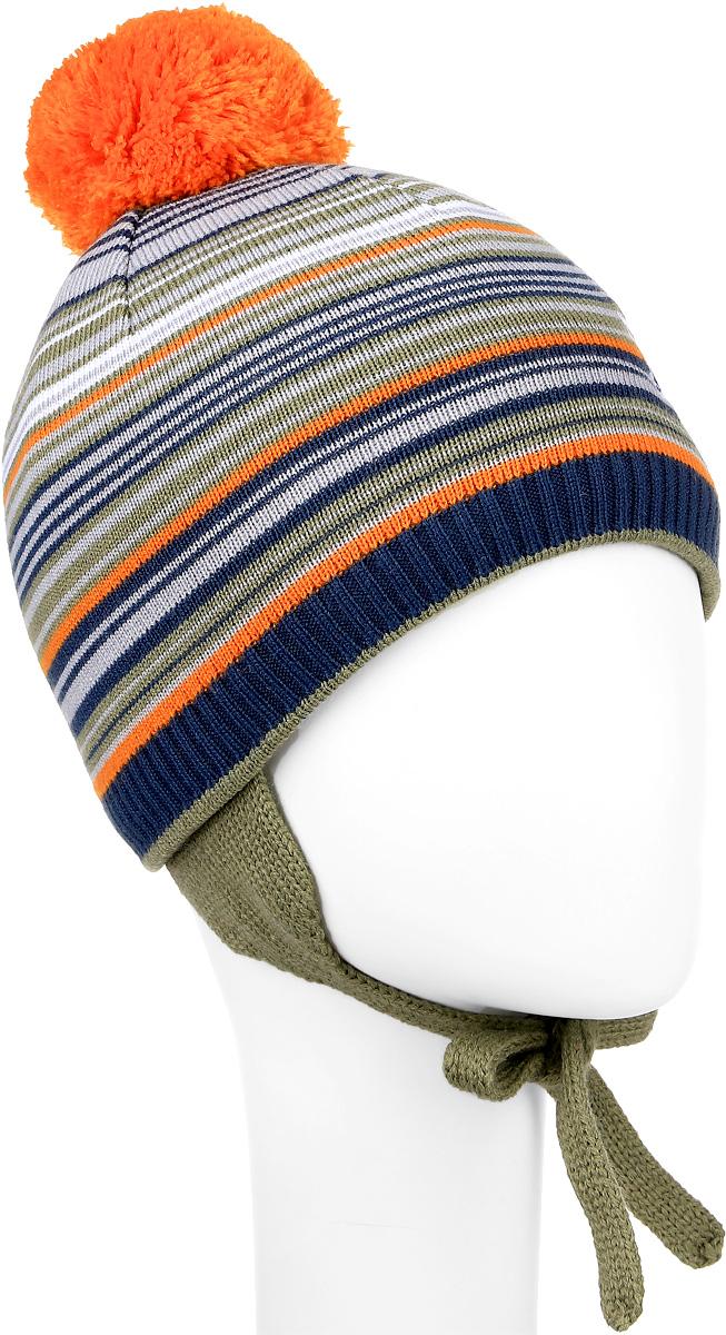 M2718-22Детская шапка ПриКиндер выполнена из шерсти и акрила, подкладка - из хлопка и лайкры. Уважаемые клиенты! Размер, доступный для заказа, является обхватом головы.
