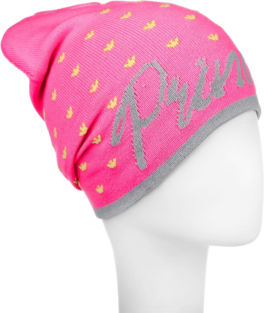 ШапкаRFH6614/3Яркая шапка Elfrio выполнена из высококачественного акрила и эластана. Модель оформлена оригинальным принтом с изображением корон и надписью Princess. Уважаемые клиенты! Размер, доступный для заказа, является обхватом головы.