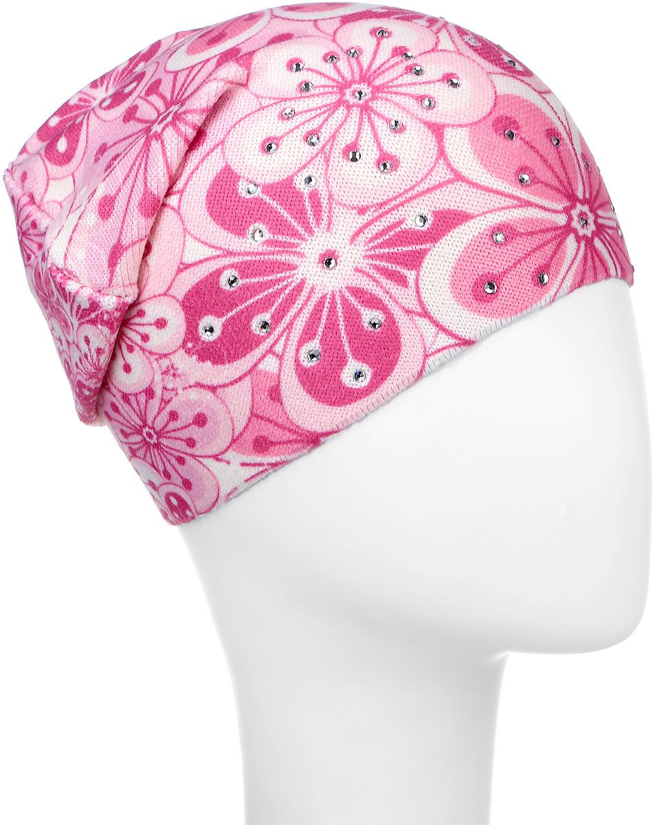 Шапка детскаяD4737-22Шапка для девочки Fishka станет стильным и красивым дополнением к детскому гардеробу. Шапка выполнена из мягкого эластичного материала, очень приятная на ощупь, идеально прилегает к голове. Изделие оформлено цветочным принтом, декорировано переливающимися стразами. Современный дизайн и расцветка делают эту шапку модным детским аксессуаром. В такой шапке ребенок будет чувствовать себя уютно, комфортно и всегда будет в центре внимания! Уважаемые клиенты! Размер, доступный для заказа, является обхватом головы.
