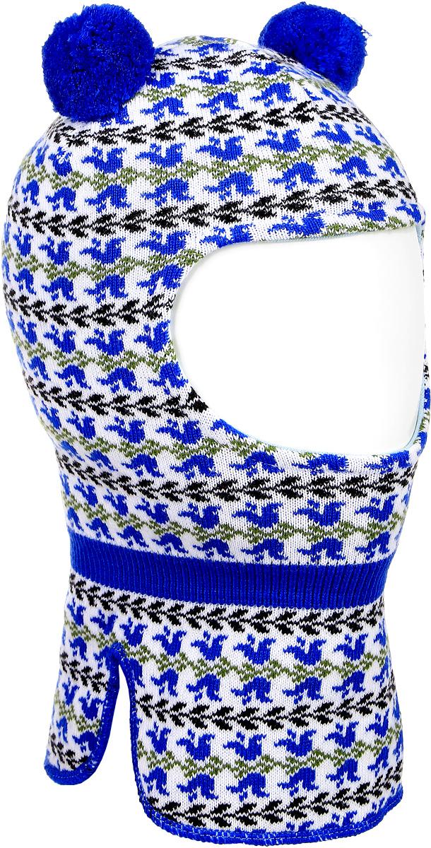 DH3809-22Теплая балаклава для девочки ПриКиндер выполнена из сочетания теплой шерсти и акрила. Подкладка выполнена из высококачественного хлопка с добавлением лайкры. Модель оформлена контрастным принтом с узорами и дополнена на макушке двумя пушистыми помпонами. Уважаемые клиенты! Размер, доступный для заказа, является обхватом головы.