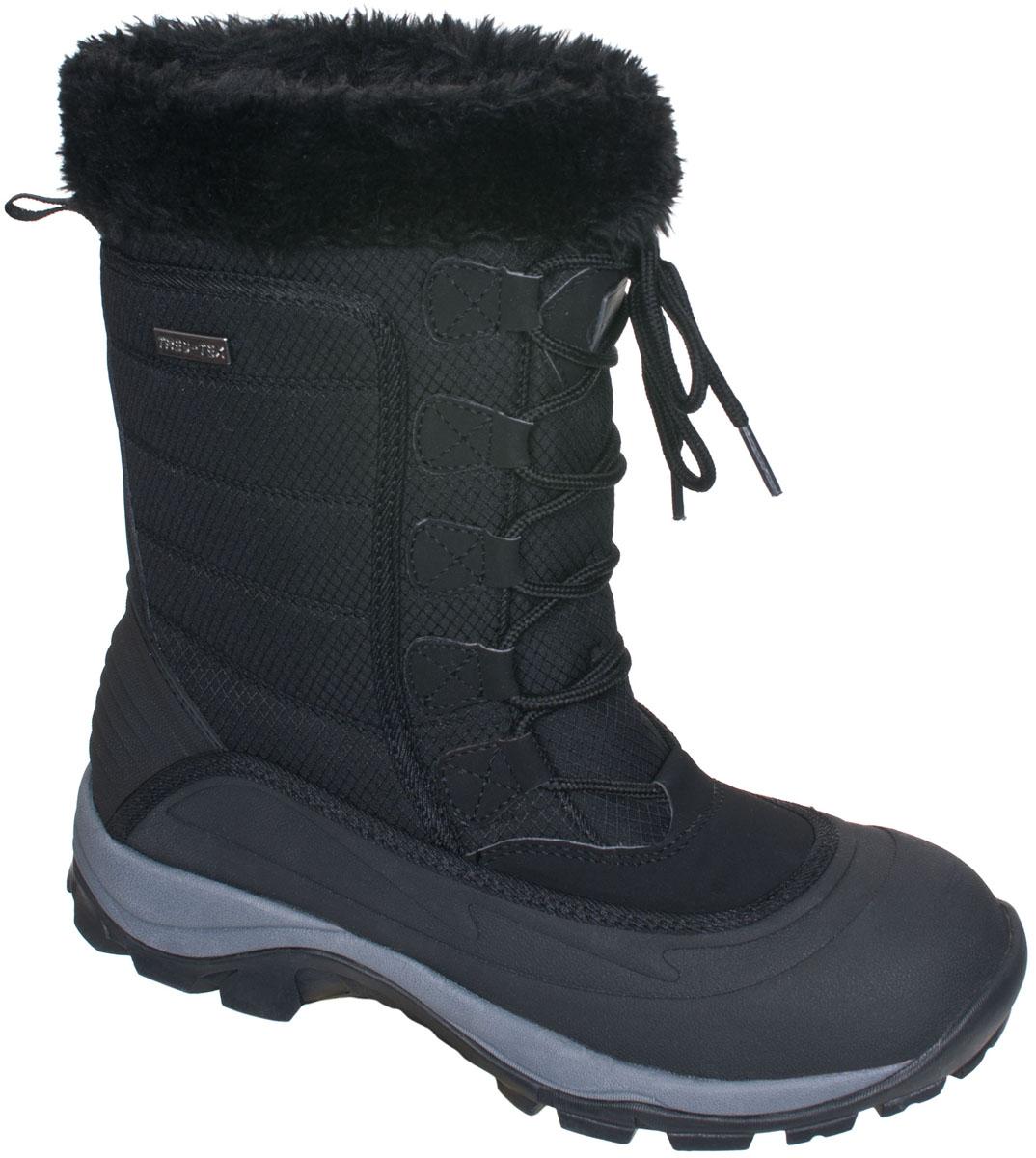 БотинкиFAFOBOJ20001Современные трекинговые женские ботинки Stalagmite от Trespass выполнены из текстильного водонепроницаемого материала и резины. Верхняя часть голенища оформлена меховой оторочкой. Специальное покрытие эффективно обеспечивает сухость и комфорт вашим ногам. Подкладка и стелька из текстиля комфортны при движении. Шнуровка надежно зафиксирует модель на ноге. Подошва дополнена рифлением.