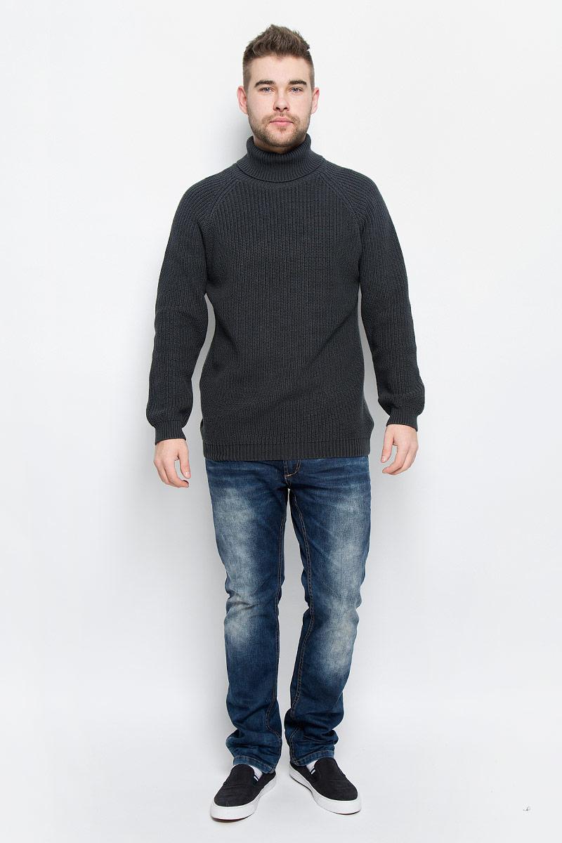 20100348_888Мужской свитер Broadway Otise выполнен из натурального хлопка. Свитер с воротником-гольф и длинными рукавами-реглан. Вырез горловины, манжеты и низ модели связаны резинкой.