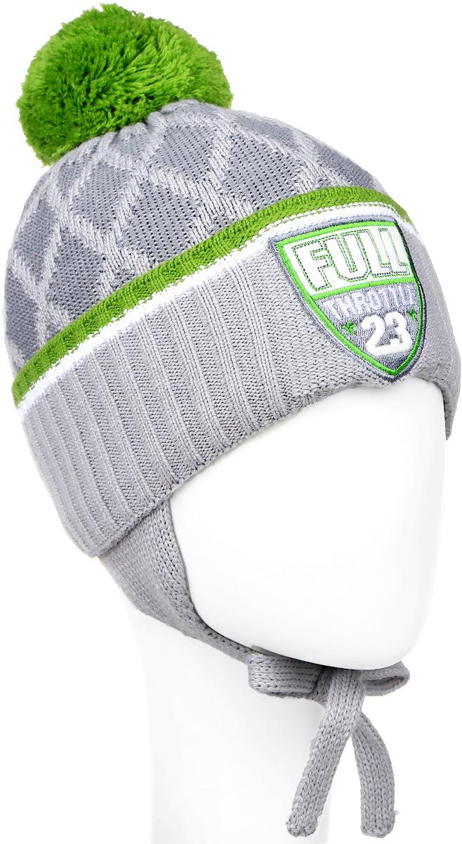 Шапка детскаяM3724-22Теплая шапка для мальчика ПриКиндер, выполненная из акрила с добавлением шерсти, защитит от ветров в холодную погоду. Подкладка изготовлена из хлопка с добавлением лайкры, утеплитель - ORSOTHERM. Модель с помпоном по низу связана резинкой и имеет отворот. По бокам шапка дополнена удлиненными ушками с завязками. Оформлено изделие вязаным узором и нашивкой. Уважаемые клиенты! Размер, доступный для заказа, является обхватом головы.