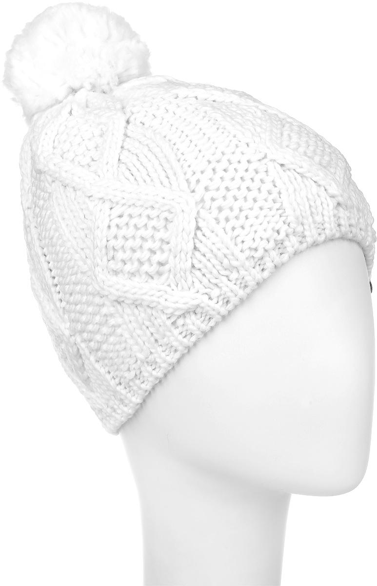 4500Теплая женская шапка Marhatter выполнена из сочетания высококачественного акрила и теплой шерсти. Шапка выполнена крупной вязкой с узором и на макушке оформлена пушистым помпоном. Сбоку модель дополнена нашивкой с логотипом бренда. Уважаемые клиенты! Размер, доступный для заказа, является обхватом головы.