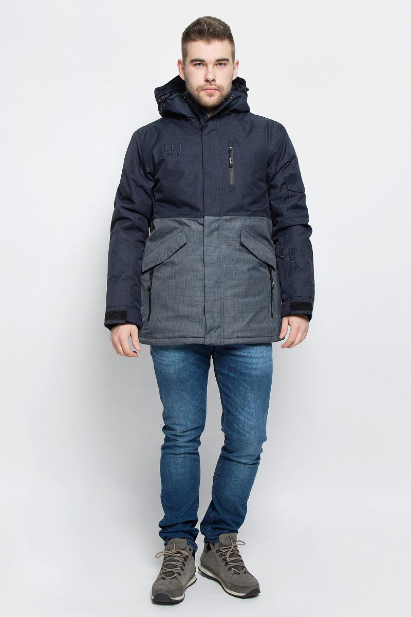 КурткаB536906_DEEP NAVY MELANGE-GREY MELANGEМужская куртка Baon изготовлена из высококачественного полиэстера. В качестве утеплителя используется полиэстер. Куртка с несъемным капюшоном застегивается на застежку-молнию с двумя бегунками и защитой для подбородка, а также дополнительно имеет ветрозащитный клапан на липучках и кнопках. Капюшон оснащен эластичными шнурками со стопперами. Низ рукавов дополнен внутренними эластичными манжетами с отверстиями для больших пальцев и хлястиками на липучках. Под рукавом расположена застежка-молния и сетчатый материал для дополнительной вентиляции. Низ изделия дополнен съемной ветрозащитной планкой на кнопках. Объем по низу регулируется с помощью эластичного шнурка со стоппером. Спереди имеется пять прорезных кармана на застежках-молниях. два из которых с клапанами на кнопках, с внутренней стороны - прорезной карман на застежке-молнии, небольшой накладной карман-сетка и накладной карман на липучке. На левом рукаве расположен небольшой прорезной карман на застежке-молнии и накладной...