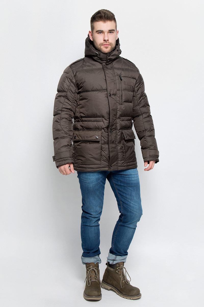 КурткаAL-2974Мужская куртка Grishko изготовлена из высококачественного полиэстера. В качестве утеплителя и подкладки используется полиэфир. Куртка с воротником-стойкой и съемным капюшоном застегивается на застежку-молнию и дополнительно имеет ветрозащитную планку на кнопках. Капюшон дополнен эластичным шнурком со стоплерами и пристегивается к изделию за счет застежки-молнии. Низ рукавов дополнен хлястиками на кнопках. Спереди имеется два накладных кармана с клапанами на кнопках и прорезной карман на застежке-молнии, с внутренней стороны - два прорезных кармана на застежках-молниях. Модель оформлена металлической нашивкой в виде названия бренда. Теплоизоляция до -25°С.