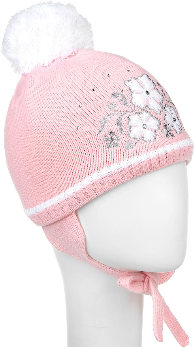Шапка детскаяD3833-22Теплая шапка для девочки ПриКиндер выполнена из высококачественного акрила и шерсти. Подкладка выполнена из хлопка с добавлением лайкры. Шапка оформлена оригинальной вышивкой в виде цветов и стразами. По бокам модель имеет удлиненные ушки на завязочках. Уважаемые клиенты! Размер, доступный для заказа, является обхватом головы.