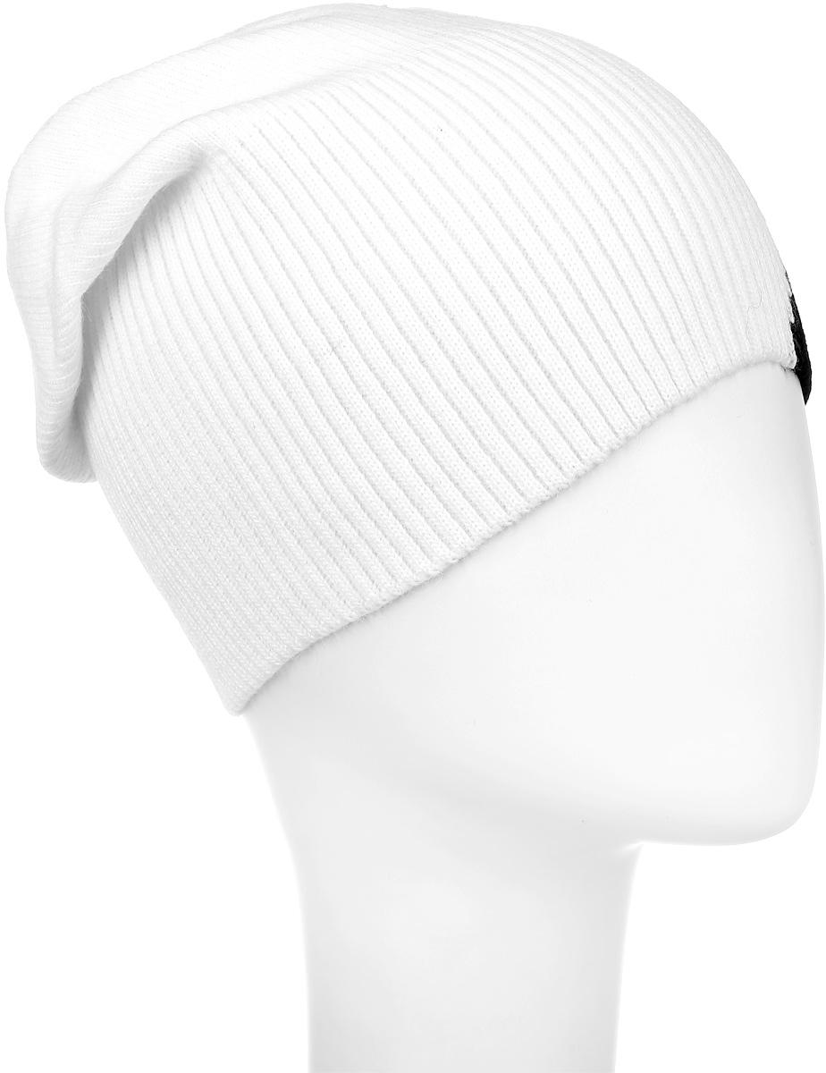 Дуэт-22Теплая шапка для девочки Concept выполнена из акрила и шерсти. Удлиненная детская шапочка оформлена контрастным принтом и дополнена аппликацией из страз. Уважаемые клиенты! Размер, доступный для заказа, является обхватом головы.
