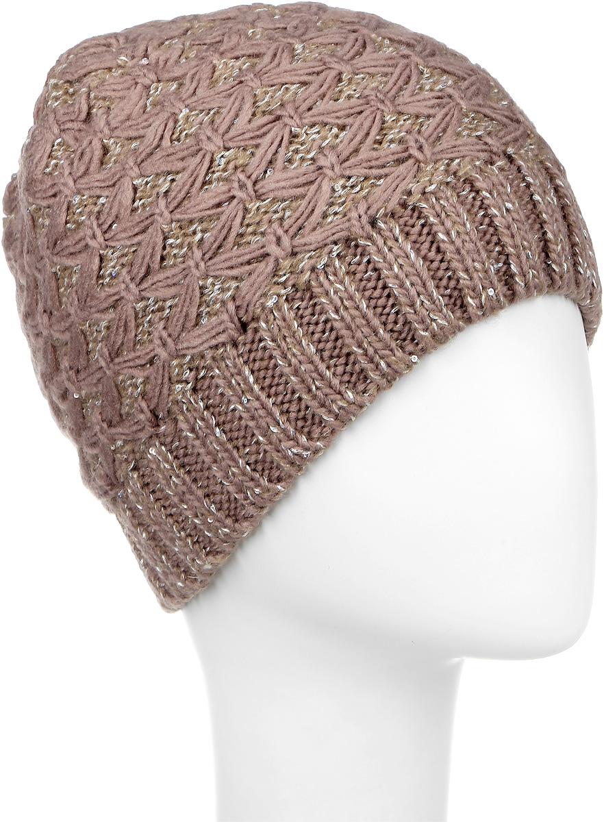 ШапкаSWH5973/2-109Вязаная женская шапка Snezhna идеально подойдет для вас в холодное время года. Изготовленная из шерсти и полиамида с добавлением мохера, она мягкая и приятная на ощупь, обладает хорошими дышащими свойствами и максимально удерживает тепло. Подкладка шапки выполнена из мягкого теплого флиса. Модель плотно прилегает к голове, благодаря чему надежно защищает от ветра и мороза. Шапка оформлена вязаным узором, а также декорирована мелкими переливающимися пайетками и небольшой металлической пластиной с логотипом бренда. Такой стильный и теплый аксессуар дополнит ваш образ и подчеркнет индивидуальность! Уважаемые клиенты! Размер, доступный для заказа, является обхватом головы.