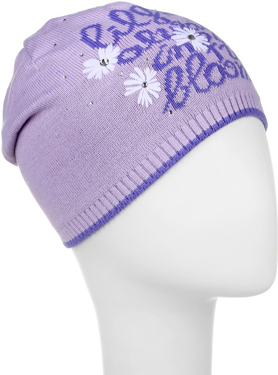 Шапка детскаяD3639-22Теплая шапка для девочки ПриКиндер выполнена из высококачественного акрила с добавлением хлопка. Шапка оформлена контрастным цветочным принтом с надписями и выкладкой из блестящих страз. В макушке модель удлинена и отогнута назад, а по низу шапка оформлена резинкой. Уважаемые клиенты! Размер, доступный для заказа, является обхватом головы.
