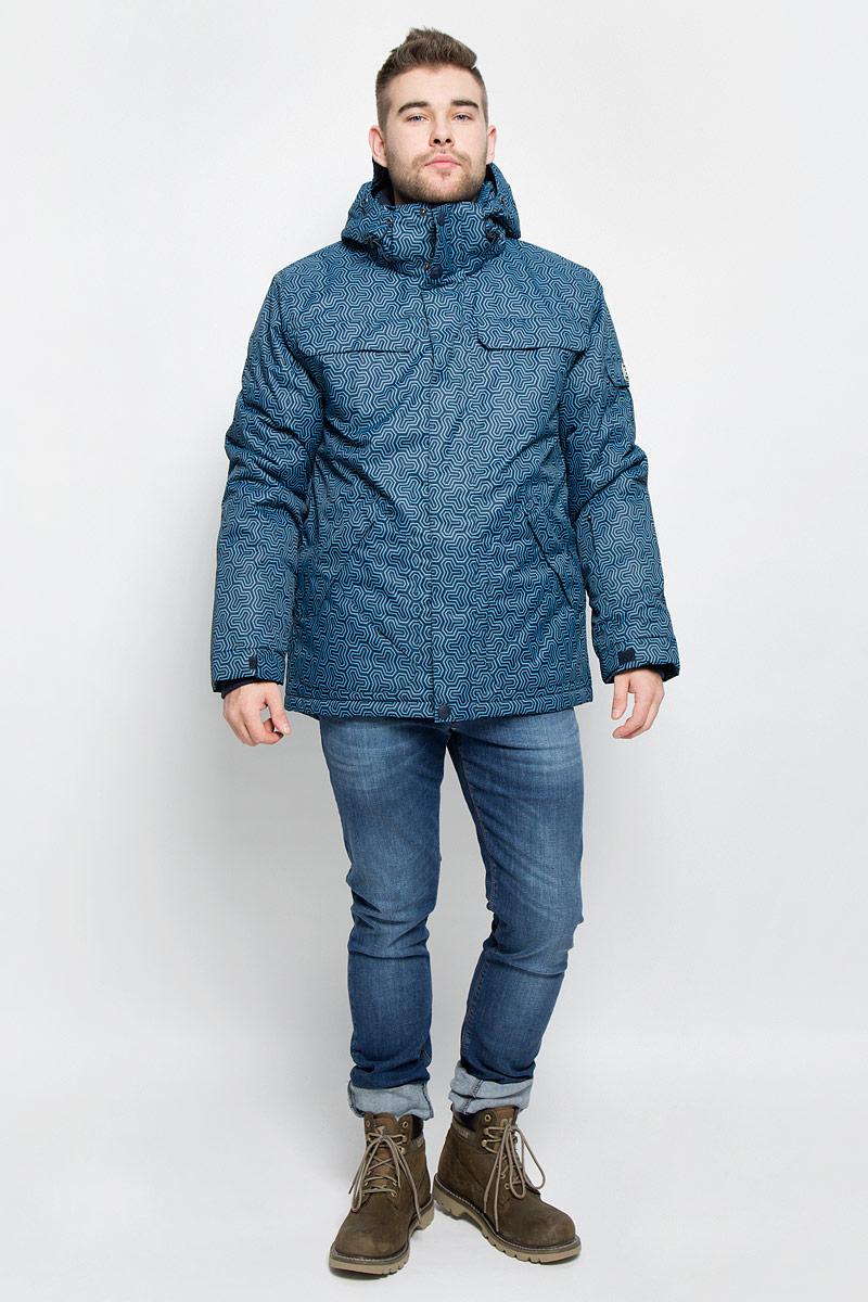 B536902_DEEP NAVY PRINTEDМужская куртка Baon изготовлена из высококачественного полиэстера. В качестве утеплителя используется полиэстер. Куртка с воротником-стойкой и съемным капюшоном застегивается на застежку-молнию с защитой для подбородка и дополнительно имеет ветрозащитный клапан на липучках и кнопках. Капюшон оснащен эластичными шнурками со стопперами и пристегивается к куртке с помощью застежки-молнии. Низ рукавов дополнен хлястиками на липучках. Под рукавом расположена застежка-молния и сетчатый материал для дополнительной вентиляции. Низ изделия дополнен съемной ветрозащитной планкой на кнопках. Объем по низу регулируется с помощью эластичного шнурка со стоппером. Спереди имеются четыре прорезных кармана на застежках-молниях с клапанами на липучках, с внутренней стороны - прорезной карман на застежке-молнии и небольшой накладной карман-сетка и накладной карман на липучке. На левом рукаве расположен небольшой прорезной карман на застежке-молнии и накладной карман с клапаном на липучке. Куртка...