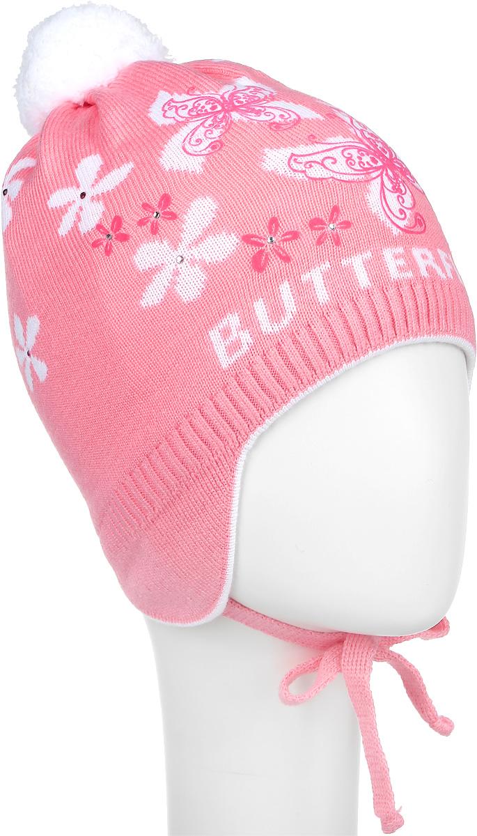 Шапка детскаяD3655-22Теплая шапка для девочки ПриКиндер выполнена из высококачественного акрила и хлопка. Подкладка выполнена из сочетания хлопка и лайкры. Шапка с помпоном оформлена контрастным цветочным принтом и декорирована блестящими стразами. По бокам модель дополнена удлиненными ушками, которые можно завязать на шнурочки. Уважаемые клиенты! Размер, доступный для заказа, является обхватом головы.