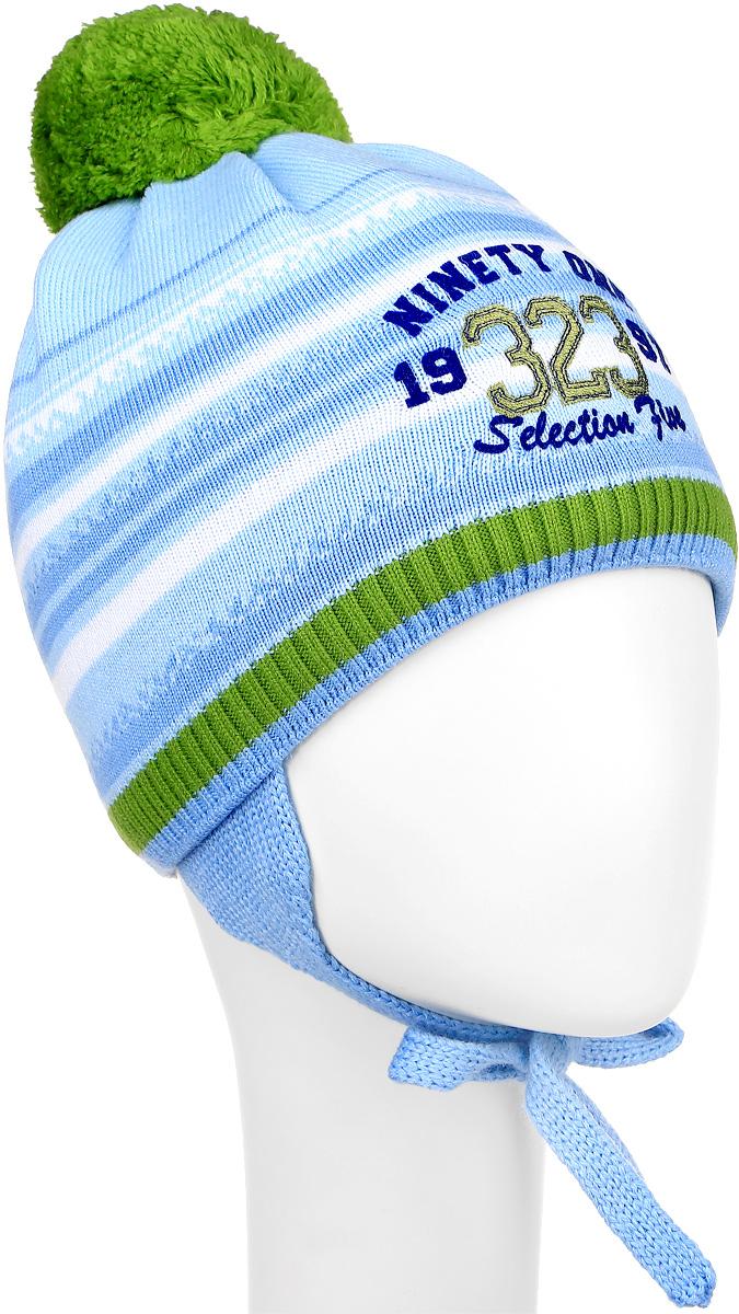 Шапка детскаяM3719-22Теплая детская шапка ПриКиндер отлично дополнит образ вашего ребенка в холодную погоду. Сочетание шерсти и акрила максимально сохраняет тепло и обеспечивает удобную посадку. Подкладка выполнена из натурального хлопка с добавлением лайкры. Шапка оформлена интересным принтом и надписями. По бокам модель немного удлинена и имеет завязки на шнурочках, а на макушке дополнена пушистым помпоном. Уважаемые клиенты! Размер, доступный для заказа, является обхватом головы.